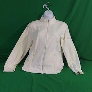 L.L. Bean S cream color fleece zip up sweater